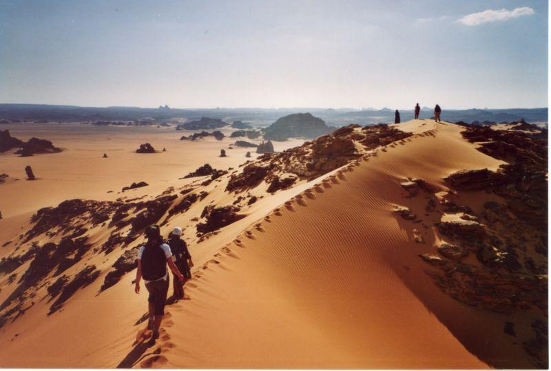 marche sur la crête de la dune