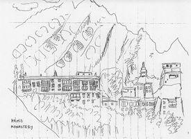 mon croquis monastère d'Hémis